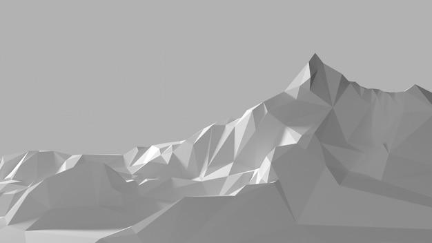 Imagem de baixo poli das montanhas brancas Foto Premium