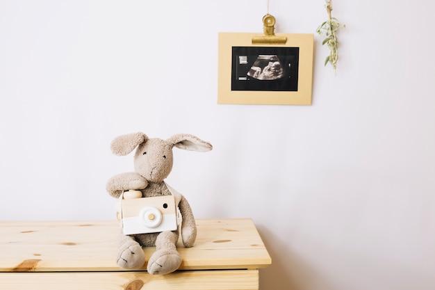 Imagem de brinquedo de peluche e sonograma Foto Premium