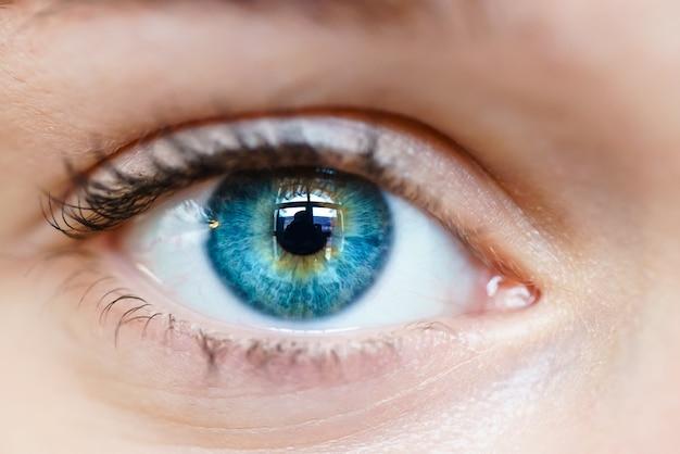 Imagem macro do olho humano Foto Premium
