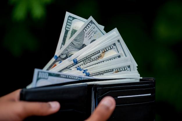Imagens de mão e bolsa de dólar conceito de finanças de mulher Foto Premium