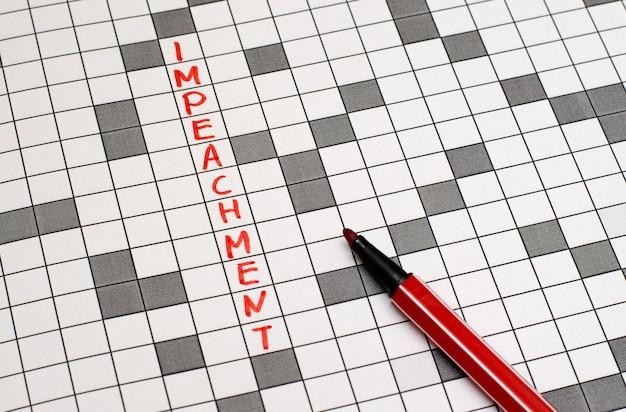 Impeachment. texto em palavras cruzadas. letras vermelhas Foto Premium