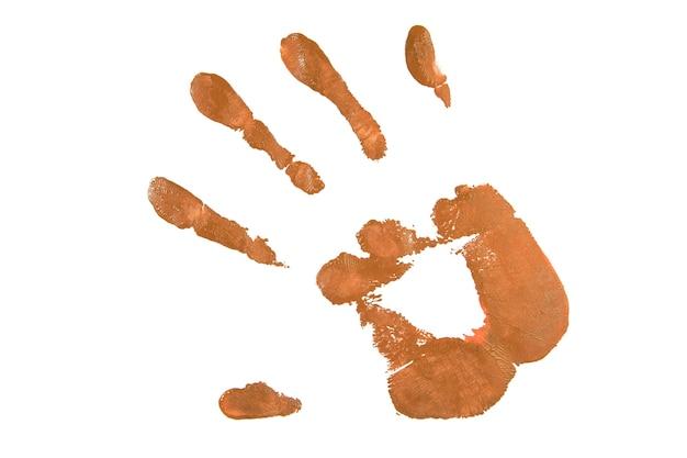 Impressão de mão de bronze em branco Foto gratuita
