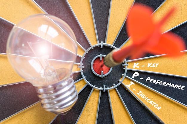 Indicador de desempenho chave do kpi com objetivo da lâmpada de idéia Foto gratuita