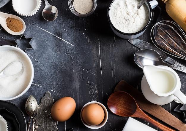 Ingredientes da cozinha cozimento preparação para cozinhar quadro Foto gratuita