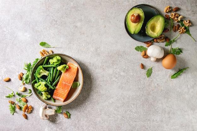 Ingredientes da dieta cetogênica Foto Premium