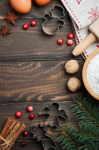 Ingredientes de cozimento de natal vista superior plana colocar cópia espaço Foto Premium