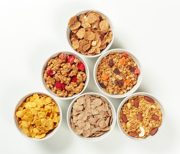Ingredientes do café da manhã dieta saudável Foto Premium