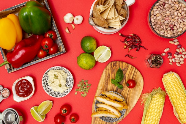 Ingredientes orgânicos frescos para cozinha mexicana Foto gratuita