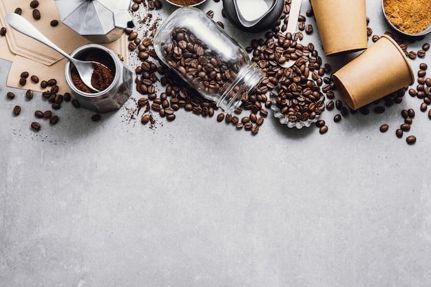 Ingredientes para fazer café lay plana Foto Premium