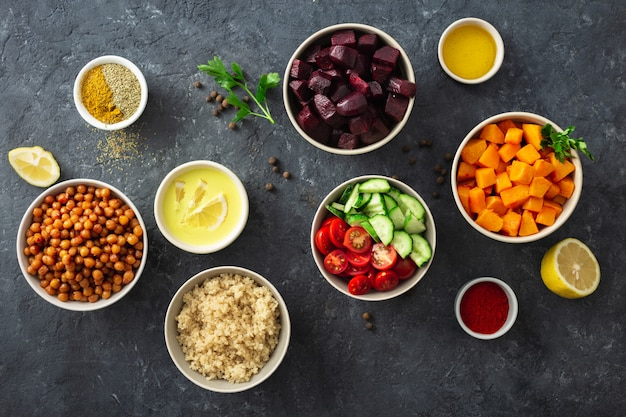 Ingredientes para pratos veganos Foto Premium