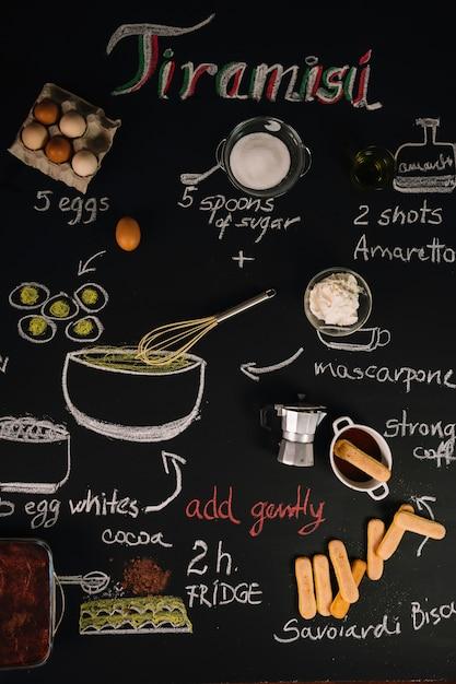 Ingredientes para tiramisu Foto gratuita