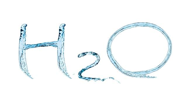 Inscrição de ilustração h2o com salpicos e fluxo de água em azul. isolado em fundo branco Foto Premium