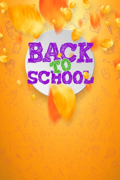 Inscrição de volta à escola, elementos de educação. cartaz para venda Foto Premium