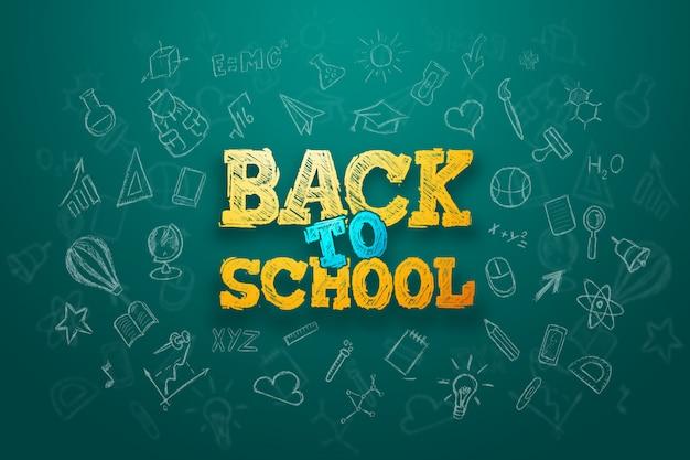 Inscrição de volta à escola, elementos de educação Foto Premium