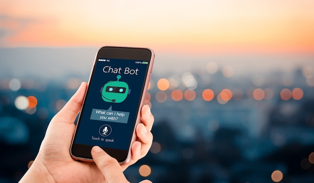 Inteligência artificial, conceito de bot de bate-papo ai. mãos segurando o telefone móvel na cidade urbana turva. Foto Premium