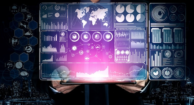 Interface gráfica moderna mostra informações massivas de relatório de vendas de negócios, gráfico de lucro e análise de tendências do mercado de ações no monitor de tela. Foto Premium