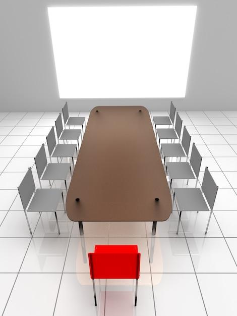Interior 3d. cadeiras e mesa Foto Premium
