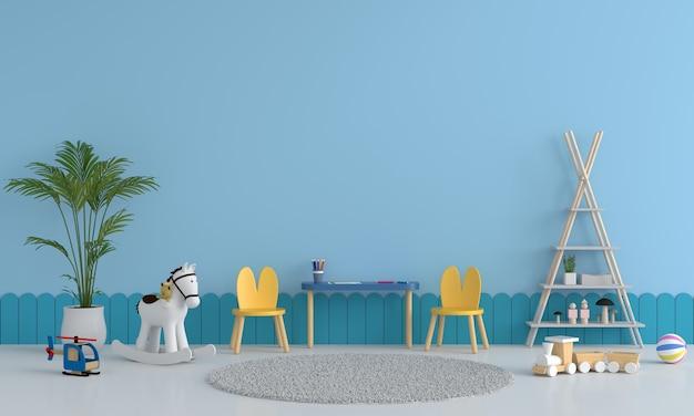 Interior azul do quarto infantil Foto Premium