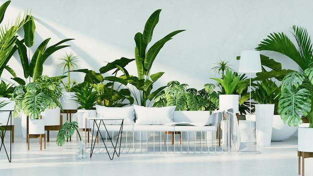 Interior botânico - sala de design tropical Foto Premium