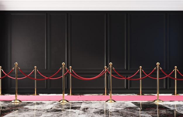 Interior clássico com parede preta e barreira dourada 3d Foto Premium