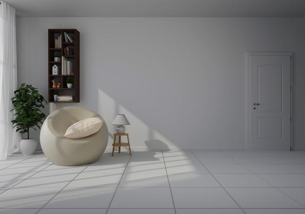 Interior com cadeira branca na sala de estar com parede branca Foto Premium