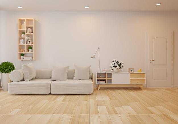 Interior com o sofá cinzento na sala de visitas com parede branca. renderização 3d Foto Premium