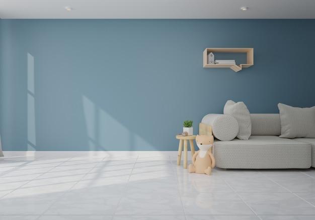 Interior com o sofá cinzento na sala de visitas com parede escura. renderização 3d Foto Premium