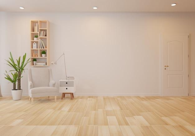 Interior com poltrona de veludo cinza na sala de estar com parede branca Foto Premium