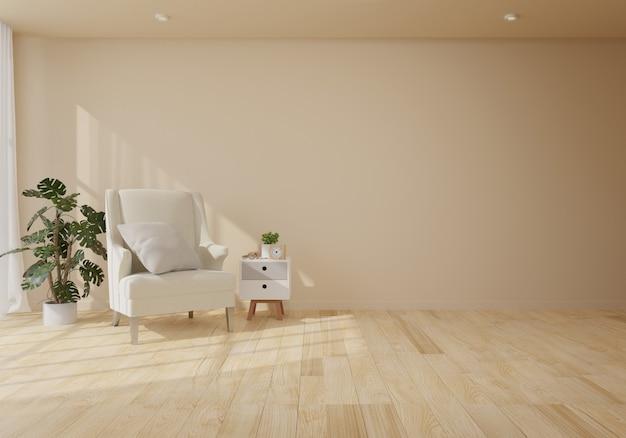 Interior com poltrona de veludo na sala de estar com parede branca Foto Premium