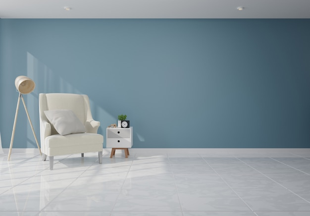 Interior com poltrona de veludo na sala de estar com parede escura Foto Premium