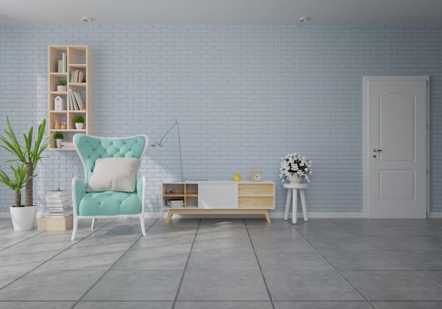 Interior com poltrona de veludo verde na sala de estar com parede branca Foto Premium
