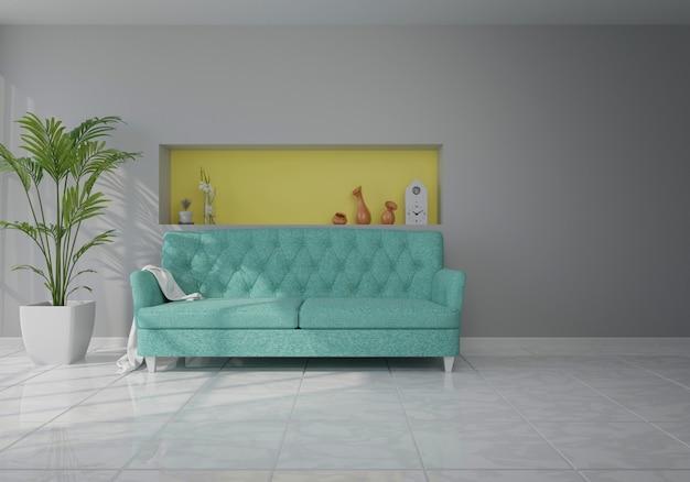 Interior com sofá de veludo azul na sala de estar com parede branca Foto Premium