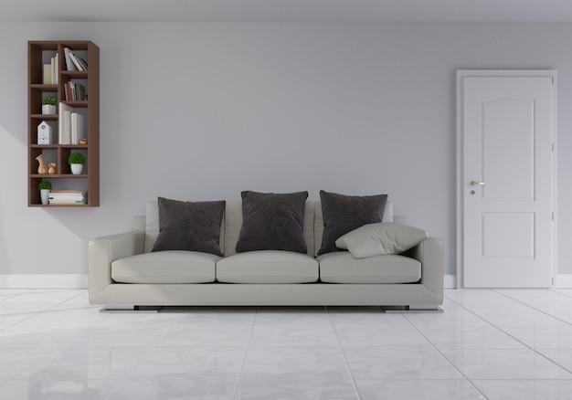 Interior com sofá de veludo cinza na sala de estar com parede branca Foto Premium