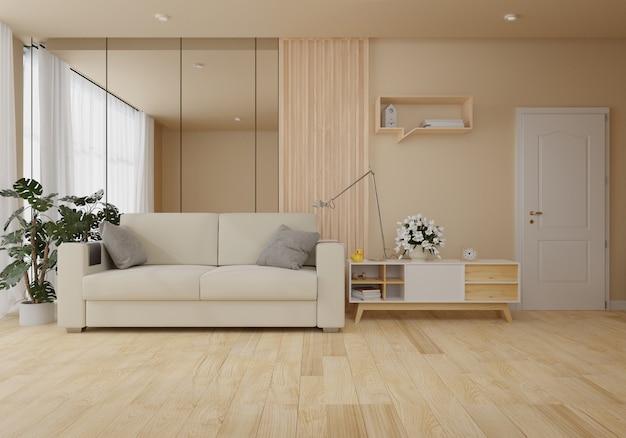 Interior com sofá de veludo na sala de estar com parede branca Foto Premium