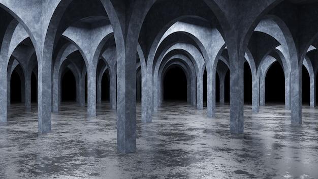 Interior concreto moderno, render 3d Foto Premium