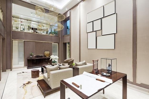 Interior da moderna sala de estar com estudo Foto Premium