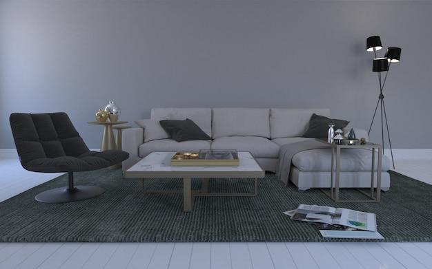 Interior da moderna sala de estar com sofá - sofá e mesa Foto Premium