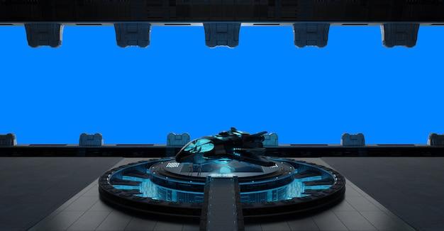 Interior da nave espacial da tira de llanding isolado na rendição 3d azul Foto Premium