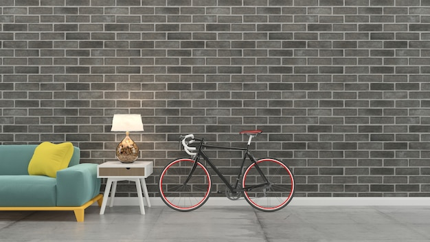 Interior da sala de estar 3d rendem o modelo de madeira da parede do assoalho de madeira da tabela do sofá Foto Premium