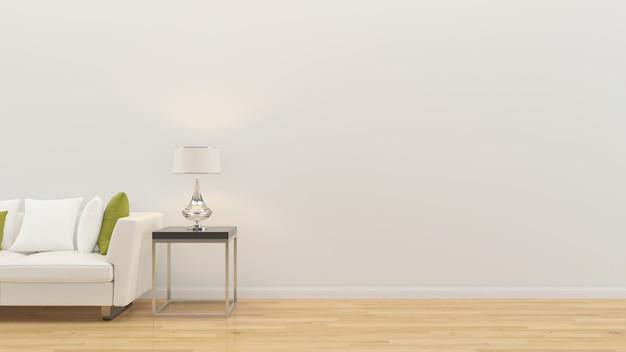 Interior da sala de estar 3d rendem o modelo de parede de madeira do assoalho de madeira do candeeiro de mesa do sofá Foto Premium