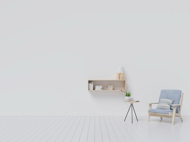 Interior da sala de estar com poltrona de veludo cinza, prateleira com livros sobre fundo de parede branca Foto Premium