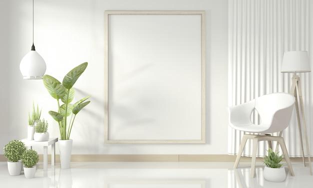 Interior da sala de estar moderna branca. renderização em 3d Foto Premium