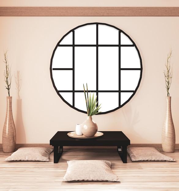 Interior da sala zen, sala ryokan e decoração em madeira, tom de terra. renderização 3d Foto Premium