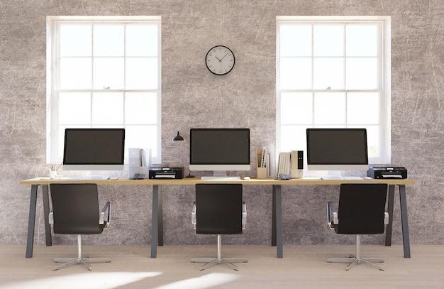 Interior de escritório de espaço aberto de muro de concreto com um piso de madeira Foto Premium