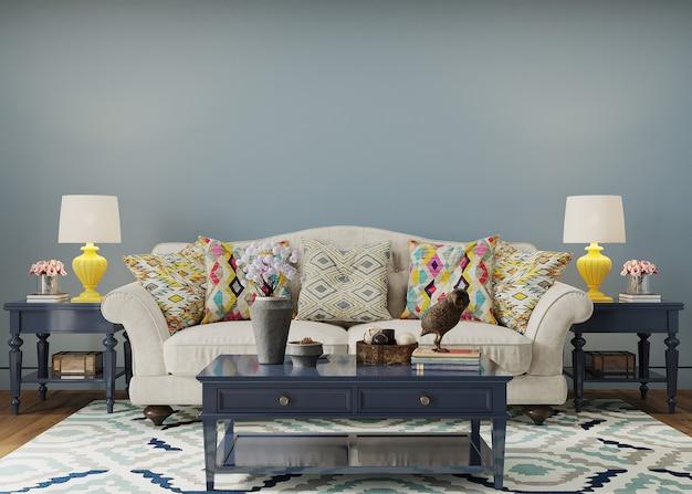 Interior de estar com sofá e mesa e travesseiro azuis Foto Premium