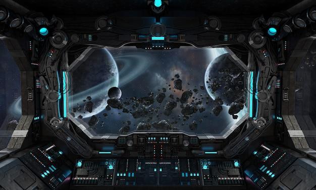 Interior de grunge nave espacial com vista no exoplaneta Foto Premium