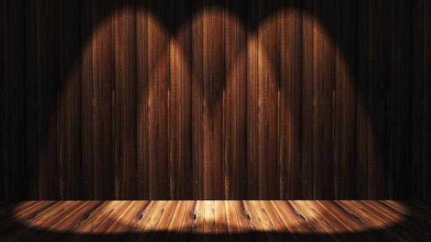 Interior de madeira grunge 3d com holofotes brilhando Foto gratuita