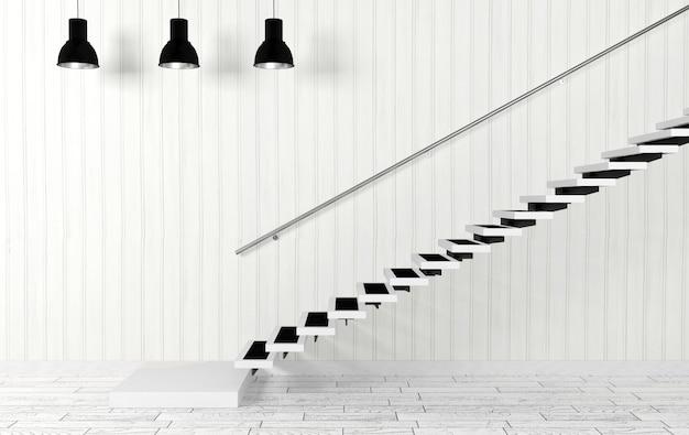Interior de quarto branco com escadaria e teto lâmpadas na decoração moderna e minimalista, renderização em 3d Foto Premium