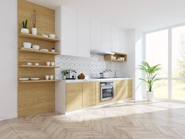 Interior de quarto branco de cozinha moderna Foto Premium