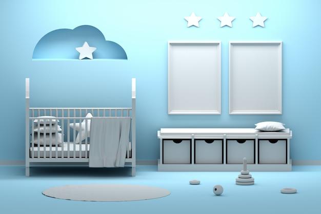 Interior de quarto de bebê recém-nascido com dois quadros a4 nas cores azul e branco Foto Premium